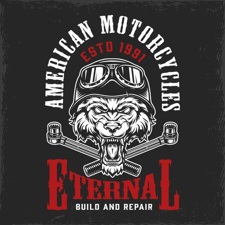 Motorcycle repair service vintage label with angry wolf head in moto helmet and crossed ratchet wrenches isolated vector illustration
