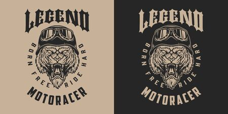 Motorcycle legend vintage monochrome label with ferocious tiger head in biker helmet and goggles isolated vector illustration