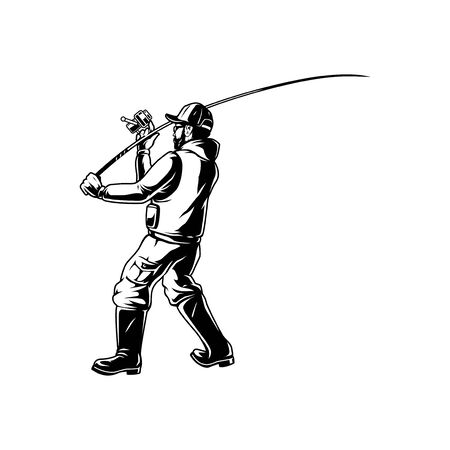Fishing vintage monochrome template with angler holding fishing rod isolated vector illustration Illustration