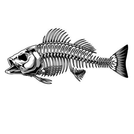Bass fish skeleton monochrome concept in vintage style isolated vector illustration Illustration