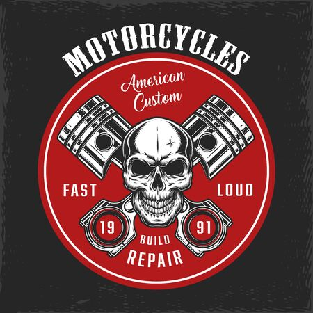 Vintage motorbike repair service round logo with skull and crossed pistons isolated vector illustration Ilustração