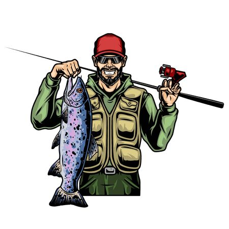 Vintage colorful concept of smiling fisher with caught big rainbow trout and fishing rod isolated vector illustration Vektorové ilustrace