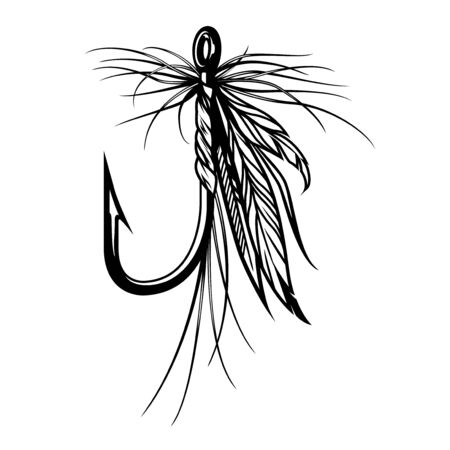Vintage fly fishing lure with feathers in monochrome style isolated vector illustration