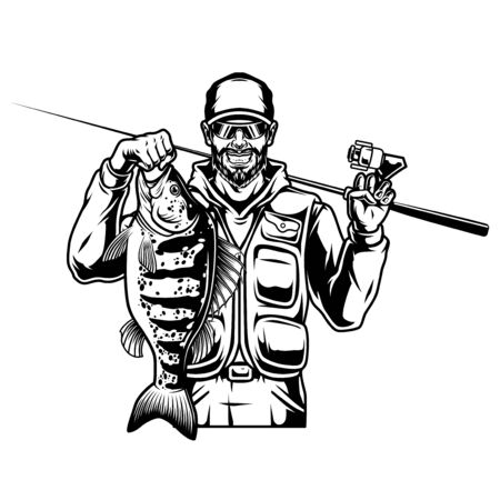 Fishing vintage monochrome concept with smiling bearded and mustached fisherman holding perch and spinning rod isolated vector illustration