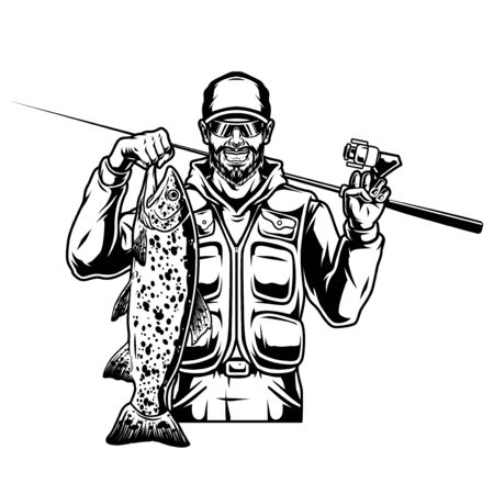 Vintage fishing monochrome template with happy bearded and mustached angler holding caught trout fish and spinning rod isolated vector illustration Vektorgrafik