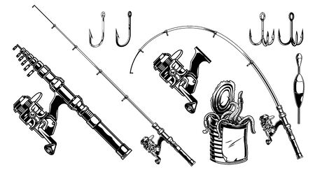Fishing elements vintage monochrome concept with spinning reel rods float different hooks and metal can full of worms isolated vector illustration