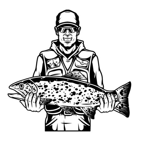 Happy angler holding caught trout fish in vintage monochrome style isolated vector illustration