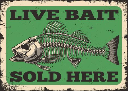 Fishing shop advertising vintage template with perch fish skeleton and inscriptions vector illustration