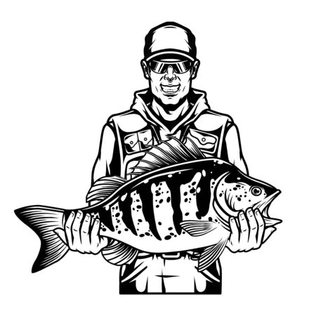 Smiling fisherman holding bass fish in vintage monochrome style isolated vector illustration