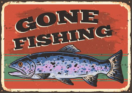 Fishing colorful template with rainbow trout and lettering in vintage style vector illustration