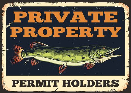 Colorful vintage fishing concept with inscriptions and pike fish vector illustration