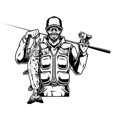 Happy fisher holding fishing rod and pike in vintage monochrome style isolated vector illustration Ilustração