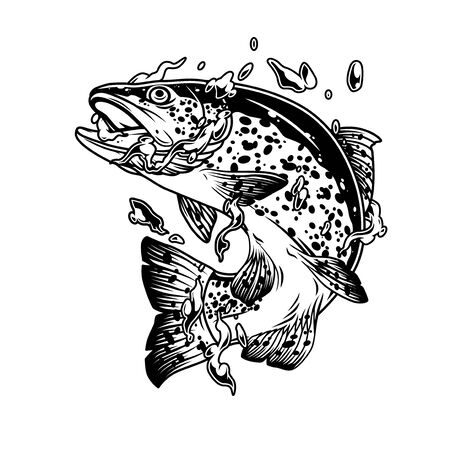 Vintage concept of trout fish in water splashes bubbles and drops on white background isolated vector illustration