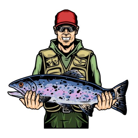 Happy fisherman holding rainbow trout fish in vintage style isolated vector illustration Ilustração