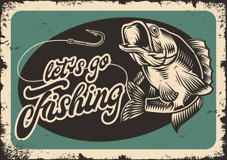 Fishing vintage template with largemouth bass fishing line and hook vector illustration