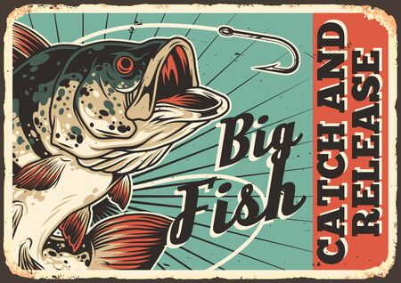Fishing colorful vintage horizontal poster with inscription big perch and sharp fishhook vector illustration