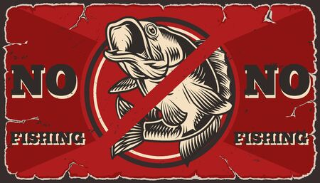 No fishing vintage red template of perch with not allowed sign vector illustration Ilustração