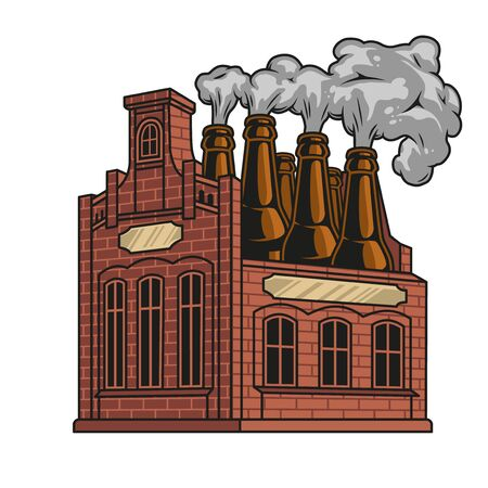 Vintage brewery funny colorful concept with beer bottles instead of chimneys isolated vector illustration Ilustração