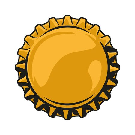 Colorful beer cap top view in vintage style isolated vector illustration Ilustração