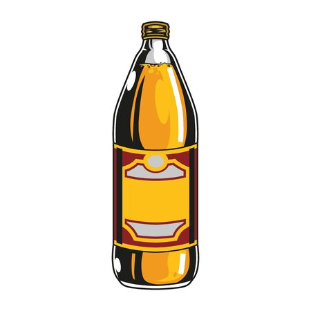 Plastic bottle of lager beer in vintage style isolated vector illustration