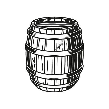 Vintage beer wooden barrel in monochrome style isolated vector illustration Ilustração