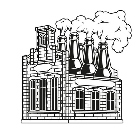 Vintage brewing monochrome concept with brick brewery and big beer bottles instead of chimneys isolated vector illustration