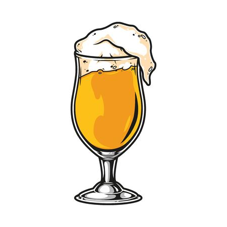 Glass full of beer vintage template isolated vector illustration