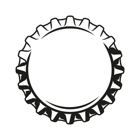 Beer cap vintage monochrome template isolated vector illustration