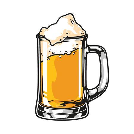 Mug of beer colorful vintage concept on white background isolated vector illustration Ilustração
