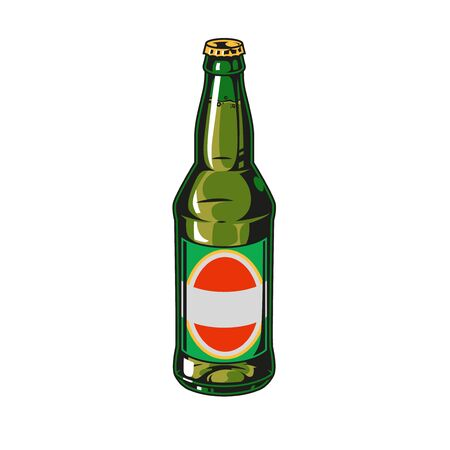 Vintage colorful concept of beer bottle isolated vector illustration