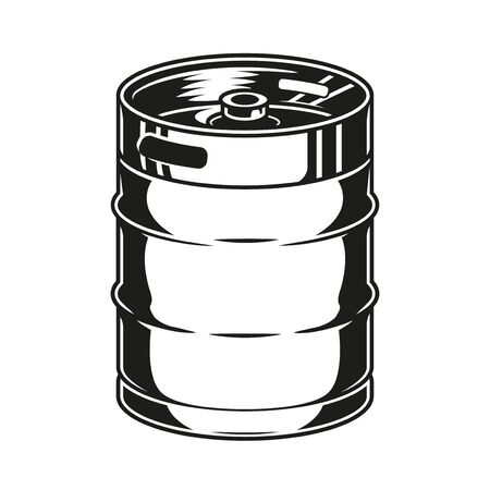 Vintage concept of metal beer keg in monochrome style isolated vector illustration Ilustração