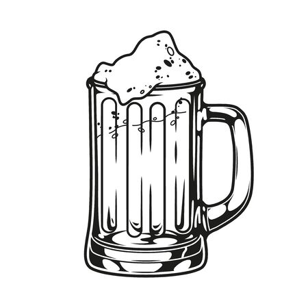 Vintage mug of fresh beer template in monochrome style isolated vector illustration