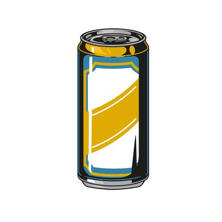 Colorful aluminum can of beer in vintage style isolated vector illustration