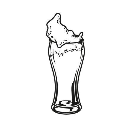 Vintage glass of beer concept in monochrome style isolated vector illustration Ilustração
