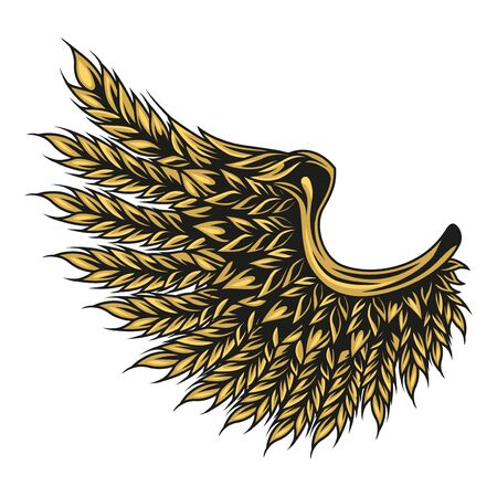 Colorful eagle wing of wheat ears in vintage style isolated vector illustration Ilustração