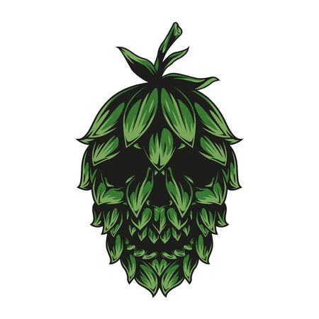 Brewing vintage concept with skull in green hop cone shape isolated vector illustration Ilustração