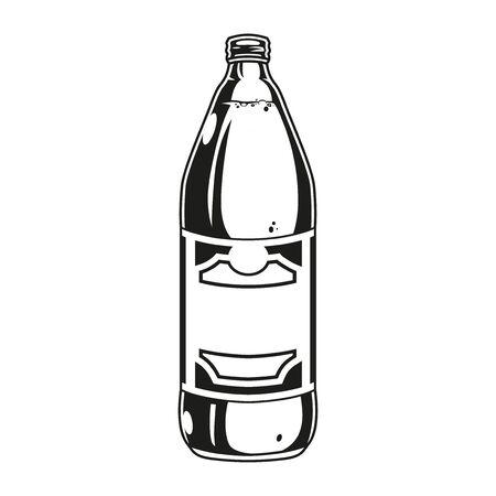 Plastic bottle full of beer in vintage monochrome style isolated vector illustration