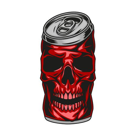 Red skull beer can concept in vintage style isolated vector illustration