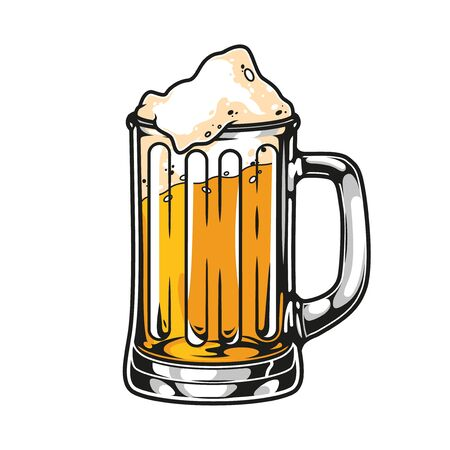 Cup of fresh lager beer concept in vintage style isolated vector illustration