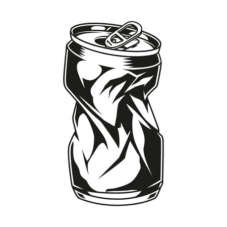 Vintage crumpled beer can concept in monochrome style isolated vector illustration