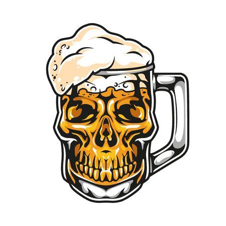 Skull in shape of mug beer in vintage style isolated vector illustration Ilustração