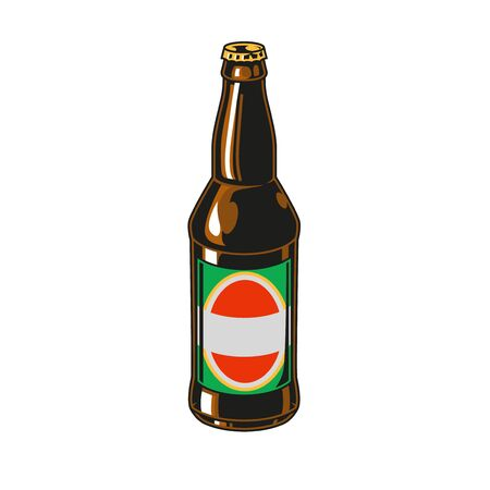Vintage colorful beer bottle with label isolated vector illustration