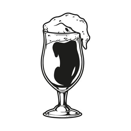 Vintage brewing monochrome concept with glass full of fresh beer isolated vector illustration