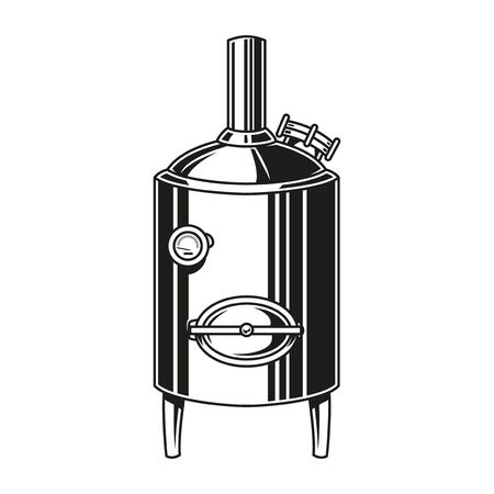 Vintage brewery equipment concept with brewing machine in monochrome style isolated vector illustration