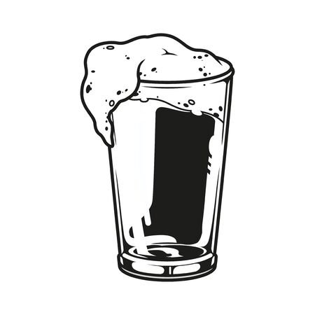 Glass full of fresh beer template in vintage monochrome style isolated vector illustration