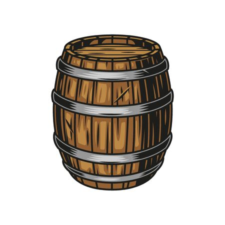 Beer wooden cask colorful concept in vintage style isolated vector illustration Ilustração