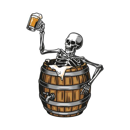 Vintage brewing colorful concept with drunk skeleton sitting in beer wooden barrel and holding mug full of foamy drink isolated vector illustration