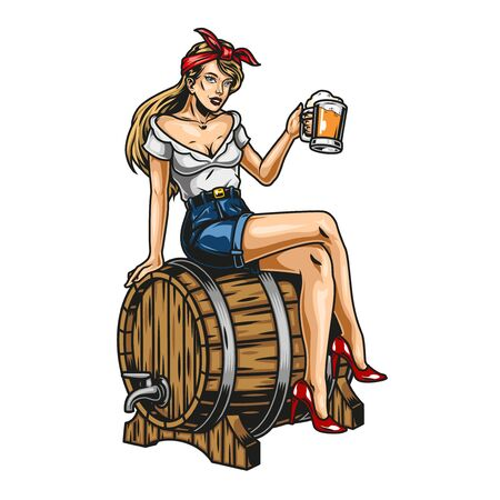 Vintage beer colorful concept with beautiful pin up girl holding mug of foamy drink and sitting on wooden barrel isolated vector illustration