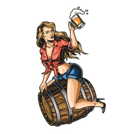Pin up girl on beer wooden barrel with mug of foamy drink in vintage style isolated vector illustration