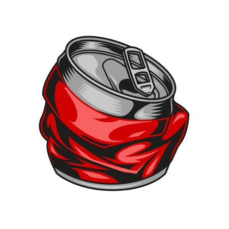 Broken aluminum red drink can concept in vintage style isolated vector illustration